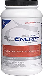 ProEnergy Strawberry Whey Protein Isolate Powder | 100% Natural | Grass Fed | Zero Sugar | Non-GMO | Undenatured | Low Carb | Lactose Free | Meal Replacement, Pre/Post Workout - 2lb Jar by EnergyFirst