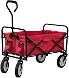 VPLLEX Folding Push Pull Wagon Collapsible Cart 300 Pound Capacity Utility Camping Grocery Canvas Sturdy Portable Buggies Outdoor Garden Sport Heavy Duty Shopping Beach Wide All Terrain Wheel