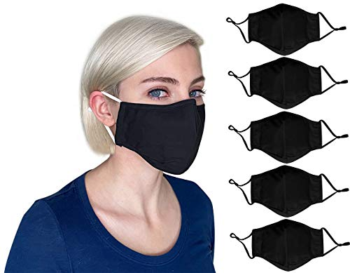 Black Face Mask Reusable Washable Breathable, Black Cloth Mask with Adjustable Ear Loops, Nose Wire, Filter Pocket, 3-layer Soft Cotton, Plain Color, for Women, Men, Youth (Black-5Pack)