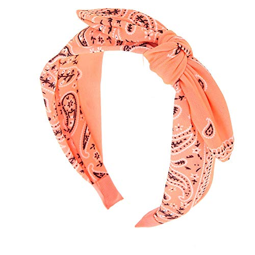 Claire's Knotted Bow Bandana Twisted Headband for Girls, Paisley Print, One Size, Coral, 1 Pc