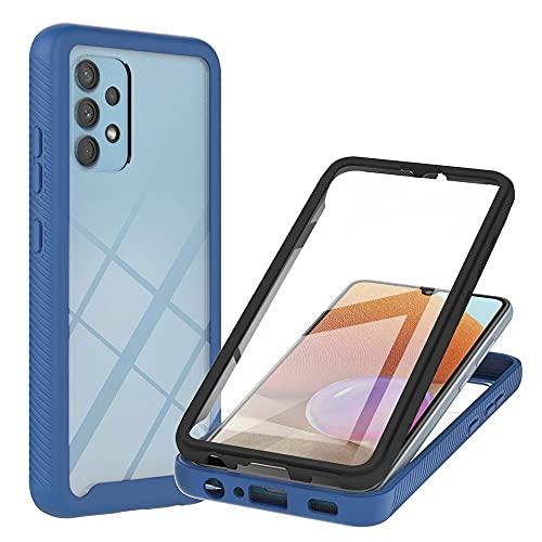 Caja de servicio pesado para Samsung Galaxy A32 4G Versión europea, caída de cuerpo completo que absorbe la cubierta trasera transparente clara delgada con protector de pantalla incorporado, funda de