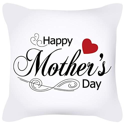 KnBoB Funda de Almohada Happy Mother's Day Corazón Poliéster Blanco Negro Rojo 40 x 40 cm Estilo 9