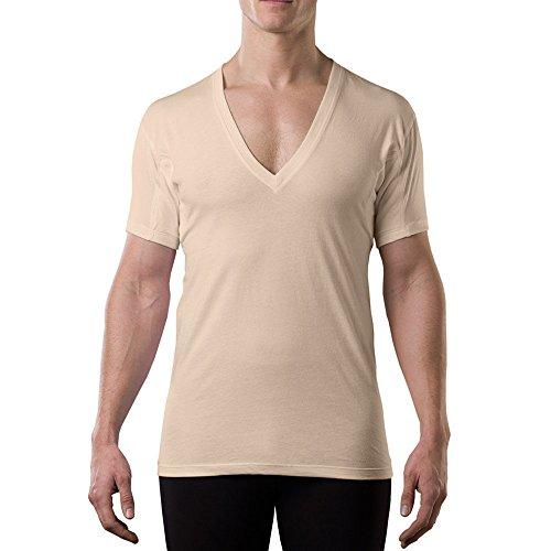 Sweatproof Undershirt for Men w/ Underarm Sweat Pads (Original Fit, Deep V-Neck)