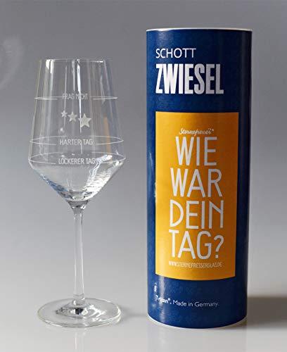 XL Wie war Dein Tag-Weinglas (1x 550ml Glas) von Schott Zwiesel | Made in Germany | Guter Tag, Schlechter Tag, Frag Nicht -Weinglas mit Aufdruck | Rotwein Weißwein | Sternefresser®