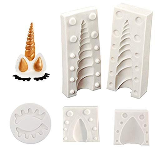 Molde de cuerno de unicornio de silicona Unicorn Cake Toppers con orejas y ojos Set de moldes Paquete de 5 para bombones Fondant Sugarcraft Decorating (Blanco)