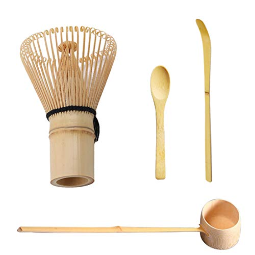 Toruiwa 4X Matcha Besen Set Matcha Schneebesen Bambus Teelöffel Bambus Chasen Matcha Pulver Quirl Werkzeug Japanische Teezeremonie Zubehör