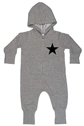 Racker-n-Roll Racker-n-Roll Black Star Baby All-in-one Sweatsuit Grey