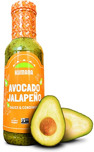 Kumana Avocado Jalapeño Sauce. A Keto Friendly Hot Sauce made with Ripe Avocados and Chili Peppers. Ketogenic and Paleo. Sugar Free, Gluten Free and Low Carb. 13.1 Ounce Bottle.