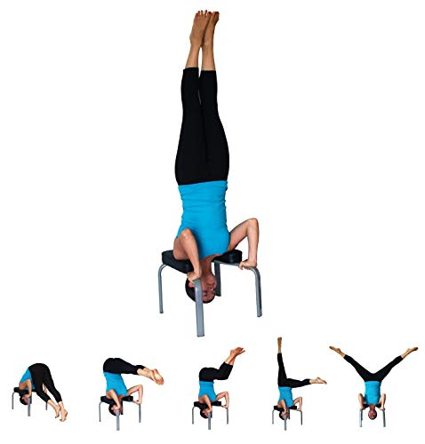 JIAL-SMEIL Yoga Headstand Bench - práctica de Yoga - Stand Yoga Chair para Familia, Gimnasio - Almohadillas de Madera y PU - Aliviar la Fatiga y acumular Cuerpo (Negro)