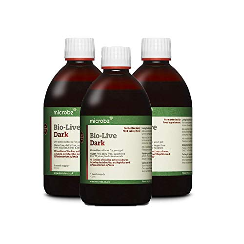 Microbz (Triple Pack) Bio-Live Dark (475ml) Bio Cultures Probiotic Liquid Supplement - Multi Strain Fermented Liquid Formula with Bio Live Active Natural Cultures for Everyday Oral Use
