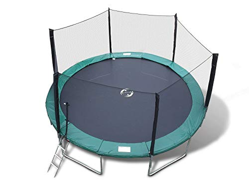 Happy Trampoline - Galactic Xtreme Gymnastic Outdoor Trampoline with Net Enclosure - High Performance Commercial Grade, Heavy Weight Jumping Capacity (14 Ft, Round) 14 FT Round