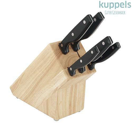 Koppelels SHARP LINE messenblok incl. messenset, roestvrij & gepolijst, keukenmes, tomatenmes, uitbeenmes, broodmes & koksmes, rubberhout, roestvrij staal, bruin/zilver, 6-delig
