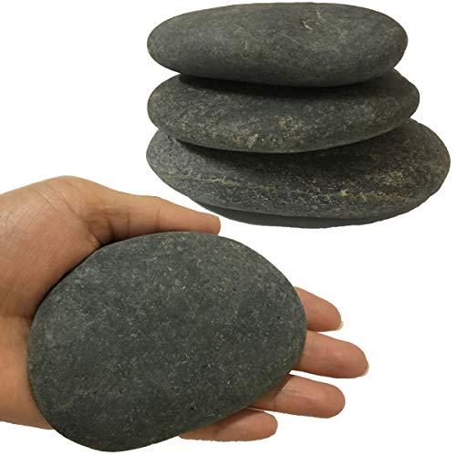 juexiyarticle 3 Stücke Flach Steine Groß zum Bemalen für Kinder,Naturkiesel Dekorativer Malen Kieselsteine Aquarium Deko,7-10cm