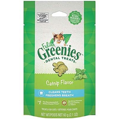 FELINE GREENIES Adult Natural Dental Care Cat Treats, Catnip Flavor, 2.1 oz. Pouch