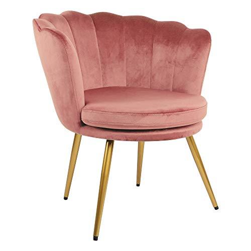 Genesis Flora Accent sedia con schienale a petali con gambe in metallo finitura cromata dorata, rosa cipria