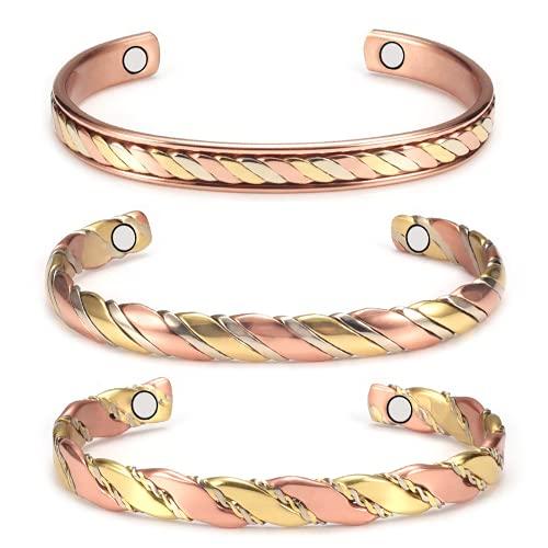 (3 piezas) Juego de pulseras magnéticas de cobre para mujer para artritis con imán, longitud ajustable, comúnmente usado para aliviar el dolor