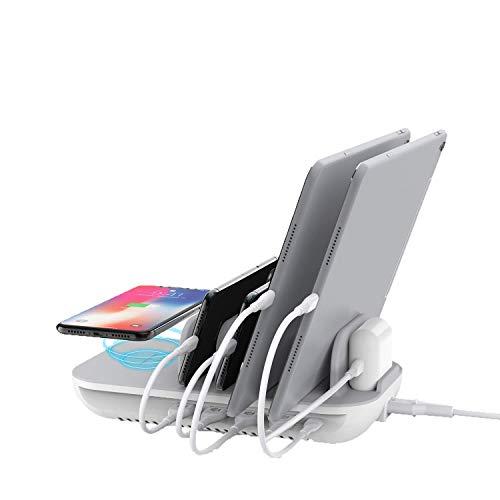 SooPii 60W 5-Port-Ladestation mit 10W Wireless Charging Pad, 1 USB-C-Port mit 18W Stromversorgung für iPad Pro, Telefon Xs/Max/XR/X / 8, S9 / S8 und 4 USB-Anschlüsse für alle Telefone, Tablets