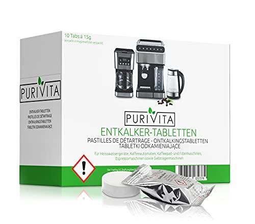 Purivita - Entkalkungstabletten - für Kaffeemaschine und Kaffeevollautomat 10er Packung