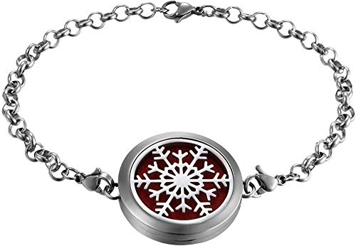 MNMXW Stainless Steel Locket Aromatherapy Essential Oil Diffuser Bracelet Cloud Snow Life Tree Charm Link Wristband-Snow