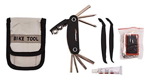 Amtech S1810 Kit d'outils de réparation et de crevaison pour vélo avec Colle, rustines, Douilles, clés hexagonales, Transparent, taille unique