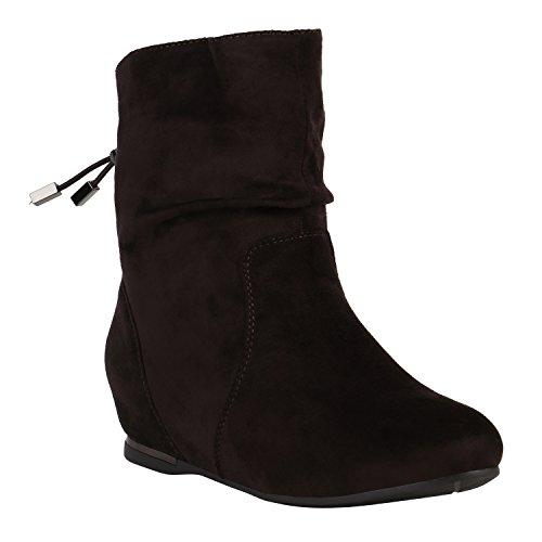 Damen Schuhe Stiefeletten Keilstiefeletten Gefütterte Stiefel Wedges 152215 Dunkelbraun Metallic 38 Flandell