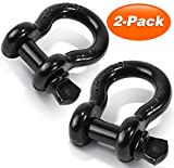 D Ring Shackles 3/4' 2 PACK, Ohuhu D Shackle Rugged 28.5 Ton (57,000 lbs) Maximum Break Strength, 4.75 Ton (9,500 Lbs) Capacity