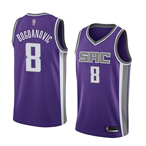 Wo nice Uniformes De Baloncesto De Los Hombres, Sacramento Kings # 8 Bogdan Bogdanovic Camisetas De Baloncesto De La NBA Sin Mangas Camisetas Sueltas Y Transpirables Tops,Púrpura,XL(180~185CM)