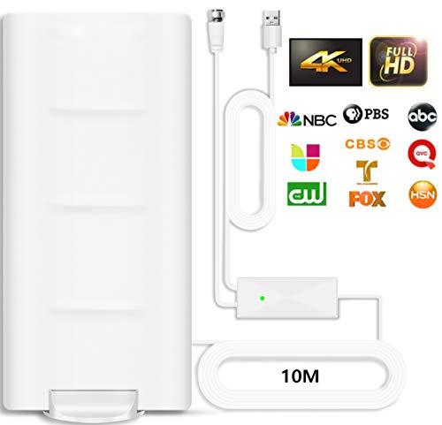 Desmontable Antena de TV Interior Exterior,320KM Antena per DVB-T/DVB-T2 de TV Digital para de con Amplificador Inteligente de Señal,Adecuada para Canales