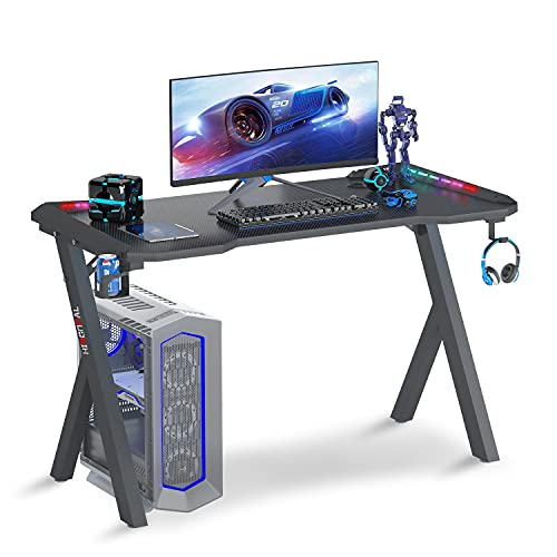 Recmaikon R Shape Gaming Desk with LED Lights, PC Workstation Gaming Desk with Cup Holder and Headphone Hook, Sturdy Office Computer Desk Easy to Assemble 114 * 60 * 72CM