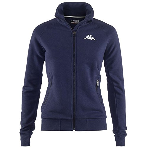 Kappa Damen Sweatjacke Slim Fit Sport Fitness Outdoor Stehkragen Dehnbund Sweats (XS, Navy)