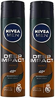 Nivea Men Deep Impact Energy Deodorant Spray For Men- Pack Of 2 (150 ml Each)