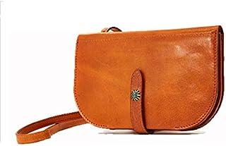 TGGongshengf Women's Leather Shoulder Crossbody Bag Top Leather Retro Handmade Clutch Bag (Color : Orange)