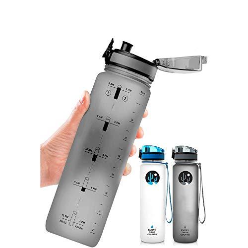 MFZJ Botella de Agua de 32 oz con Marcador de Tiempo, Botella de Agua Libre de BPA, no tóxico, a Prueba de Fugas, Duradero, para la Aptitud y los entusiastas al Aire Libre
