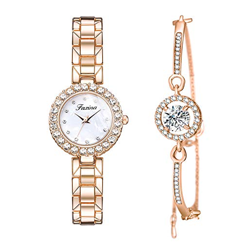Elegant Rose Gold Women Watches Sets Rhinestone Watch and Bangle for Ladies