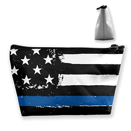 Thin Blue Line Flag Waterproof Trapezoidal Bag Cosmetic Bags Makeup Bag Large Travel Toiletry Pouch Portable Storage Pencil Holders