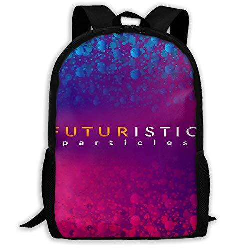 Schulrucksack Blaue Violette glühende futuristische Neonpartikel Rucksack wasserdichte Schultaschen Durable Travel Camping Rucksäcke für Jungen und Mädchen