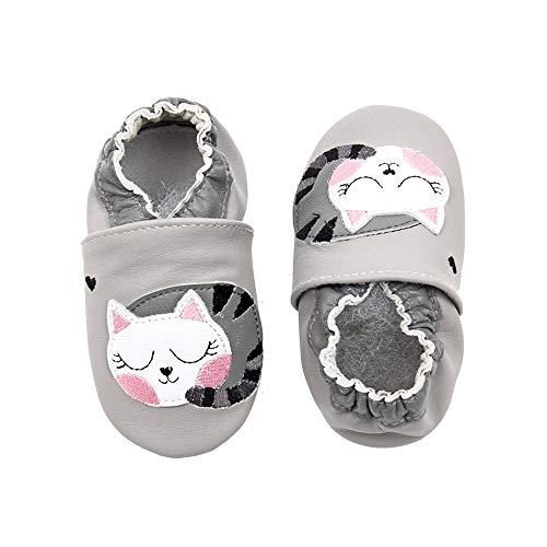 Carozoo Tigre 0-6 M Noir Semelle Souple Cuir Bébé Chaussures de bébé