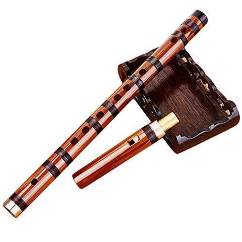Flauta de Bambú Enchufable Amargo Dizi Tradicional Hecho a Mano Musical Chino Instrumento de Viento de Madera, Cuerno exquisito del buey del jade de la imitación en dos extremos, profesionales de la m