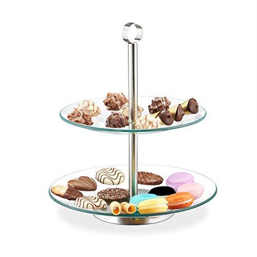 Relaxdays Etagere, 2-stöckig, rund, Cupcakes, Kekse, Snacks, Obst, Glas, Edelstahl, Servierständer, transparent/silber