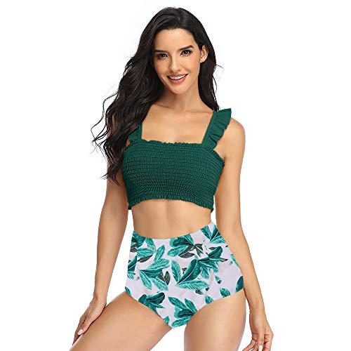 Summer Mae Damen Volant Bedruckt High Waist Bikini Set Hohe Taille Bademode Badeanzug GrünS
