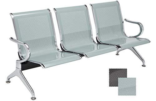 Wartebank Airport mit Metallgestell in Chrom-Optik I Robuste Bank aus Metall I Sitzbank mit Armlehnen, Farbe:Silber, Größe:3-Sitzer