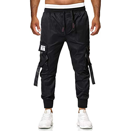 Cheapest Price! Hmlai Clearance Men's Relaxed Fit Cargo Pants Stretch Elastic Waist Big and Tall Mul...