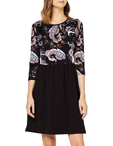 ONLY Damen ONLAMBER Amy 3/4 AOP Dress JRS Kleid, Black/AOP:Paisley, XL