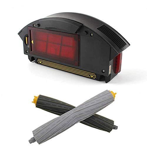 Accesorios de aspiradora Caja de recolección de polvo de filtro HEPA y un par de accesorios de extractor de restos delanteros traseros Kits Fit para Irobot Fit para Roomba 800, 900 Series 880