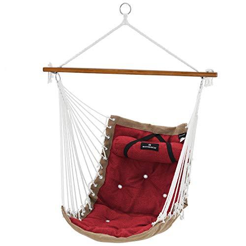 SONGMICS Hängesessel mit Kissen, XL Affenschaukel mit Polsterung, Hängestuhl mit Bambusstange, 70 x 120 cm, bis 200 kg belastbar, Indoor und Outdoor, rot-Khaki GDC46GR