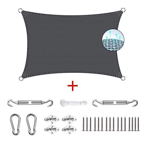 MENGH Toldo de Vela de Sombra - 2.5x5m, protección Rayos UV, UV, Resistente al Agua, para Exteriores Patio Jardín Protección UV, para Patio y Actividades al Aire Libre - Gris Oscuro