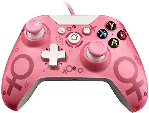 ZLZ Encargarse de Controlador con Cable para Xbox One/Xbox One S/Xbox One S/Xbox One X/PC, Controlador de Gamepad con Cable USB con Dual Vibration Gamepad Flexible (Color : Pink)