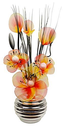 Flourish 792862 Mini Swirl - Par de jarrones con flores artificiales, 32 cm, naranja/marron