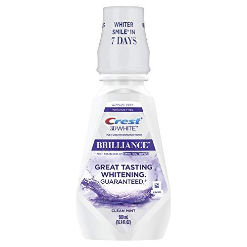 Crest 3D White Brilliance Alcohol Free Whitening Mouthwash, Clean Mint, 16.9 Fluid Ounce