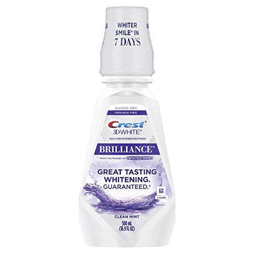 Crest 3D White Brilliance Alcohol Free Whitening Mouthwash, Clean Mint, 16.9 Fluid Ounce